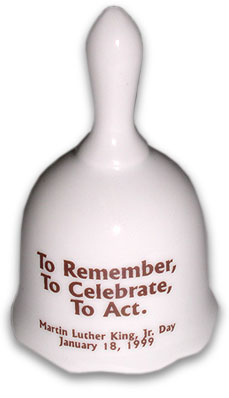"1999 Bell with text ""To Remember, To Celebrate, To Act."""