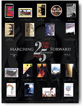 """25th Anniversary Poster: Theme: """"Marching Forward"""" 25th Annual Martin Luther King, Jr. Commemorative Poster [ Illustrating button designs from previous years. ] Designer: Michael Brahosky"""