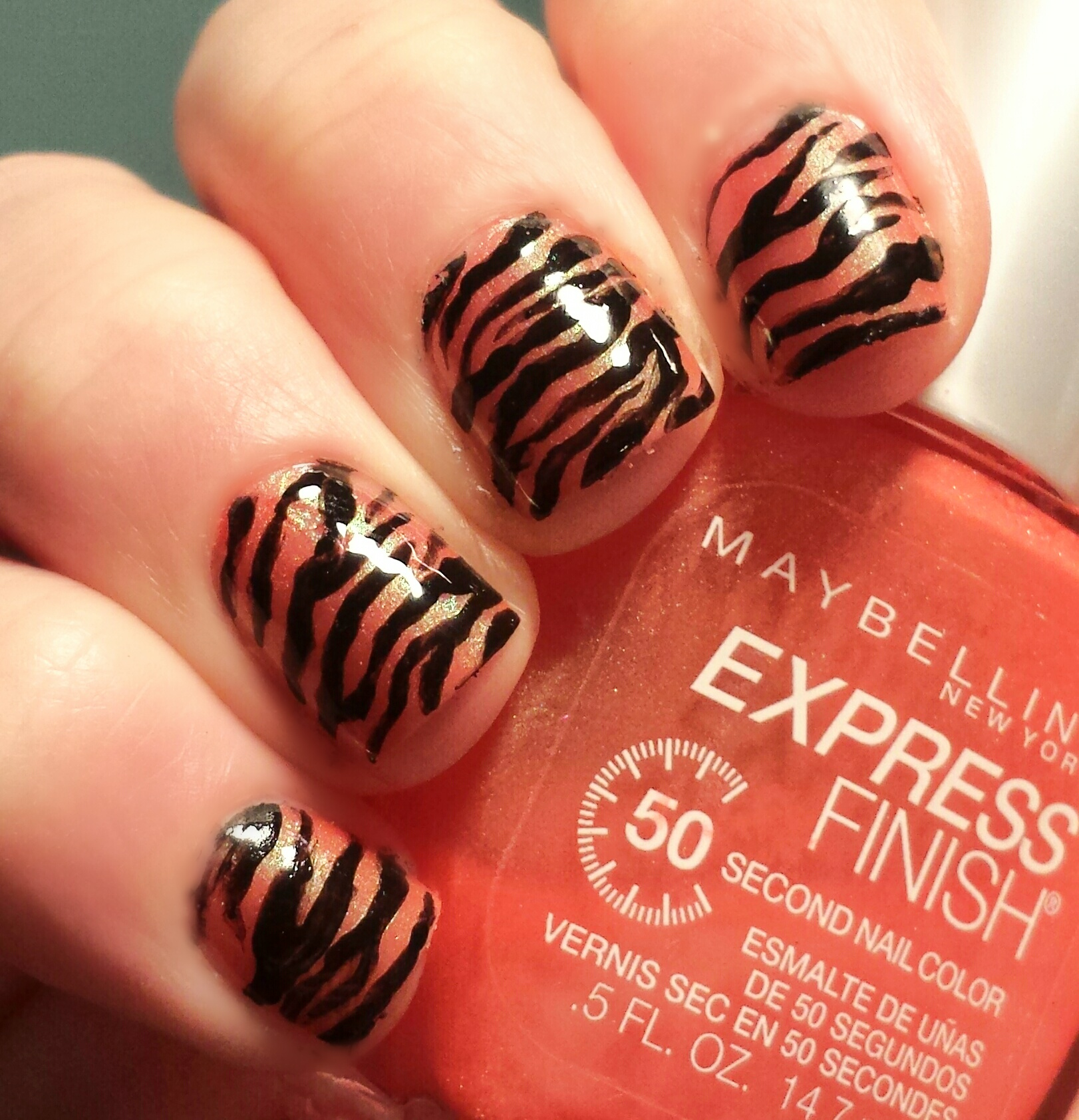 These Are Actually Tiger Print Nails But The Zebra Pattern Works Perfect