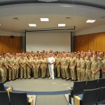 Admiral Richardson poses with the NROTC Battalion following his speech on nuclear power in the Navy.