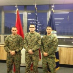 Staff Sergeant McCole (center) poses with Capt. Fulton and GySgy Martinez following his promotion.