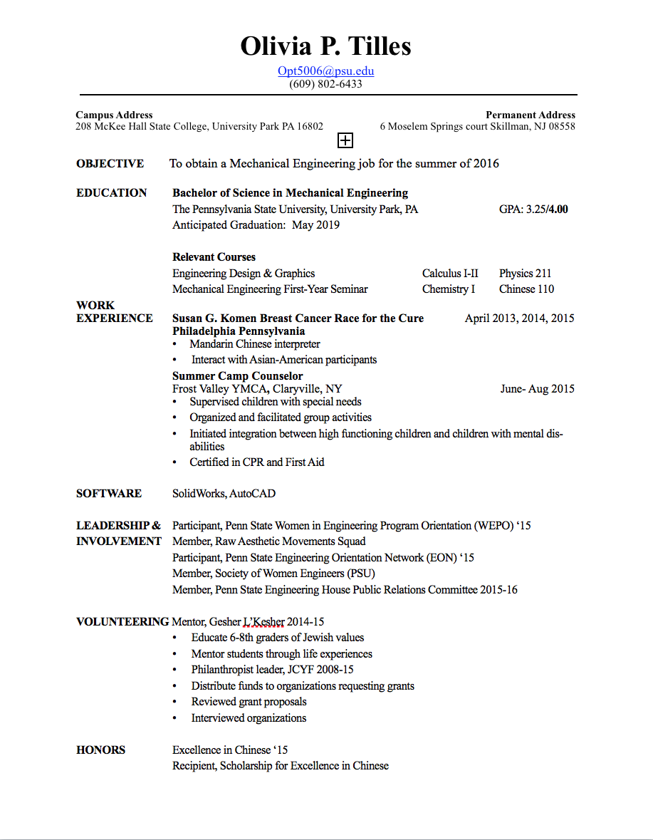 Fine Psu Engineering Resume Images - Best Resume Examples by ...