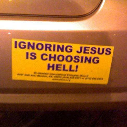 Rcl 8 jesus on a bumper sticker 1 reply · 1377294 10152457595817355 415240117 n this bumper sticker