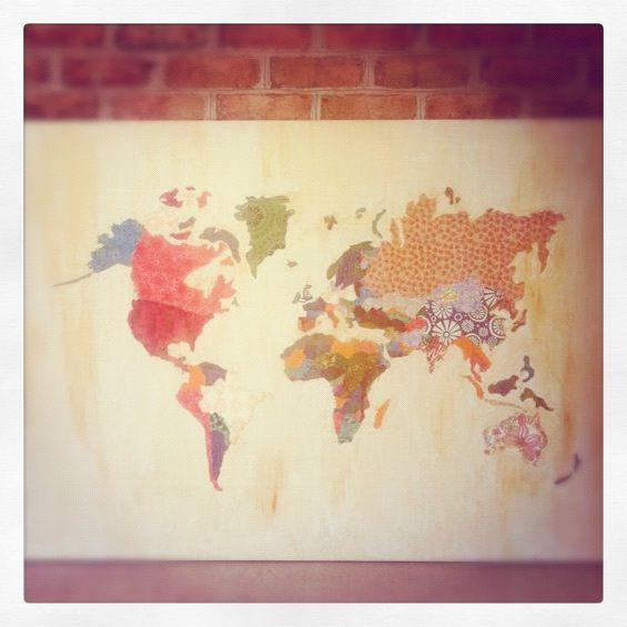 I could make that fabric canvas wall map the inspiration a variety of world map collages found on the internet primarily this one gumiabroncs Choice Image