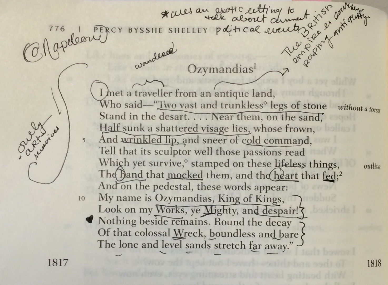 ozymandias poem analysis Ozymandias by percy bysshe shelley - love poem literary analysis, structural analysis and guidance for usage of quotes the main theme or central idea of ozymandias is to put into contrast an unavoidable decline of leaders and their empires which they make to perpetuate the memories of what they love.
