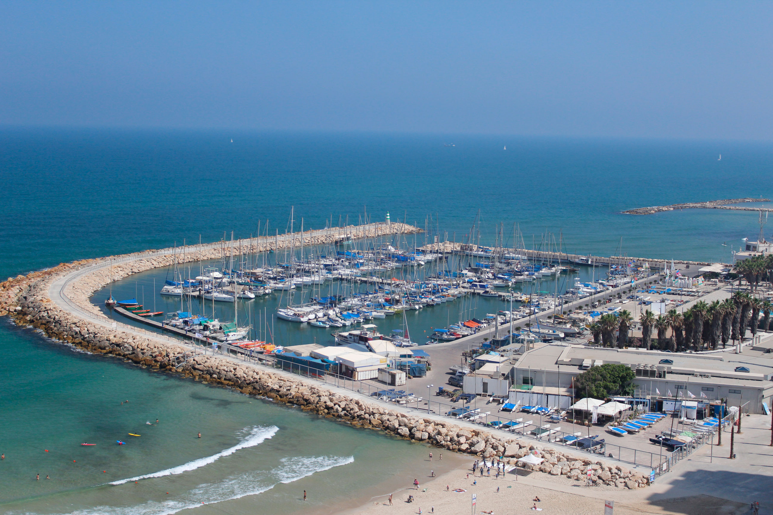 birds eye view of Tel Aviv marina