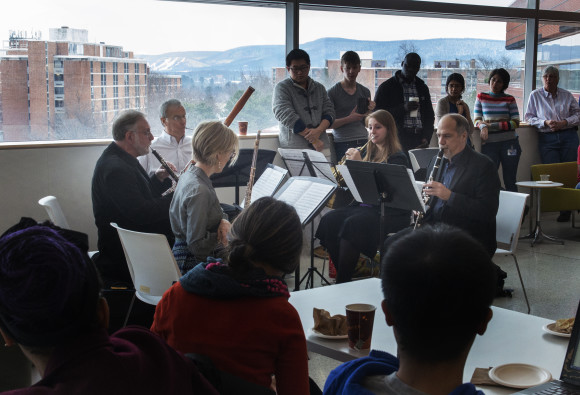 The Pennsylvania Quintet Wind Ensemble performing at the Millennium Cafe on the morning of Jan. 26.