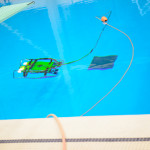 "A remotely operated underwater vehicle or ""ROV"" was tested by highschool students from all over the state during an aquatic Polar Day demonstration at Penn State's Natatorium. Photo by Michelle Bixby."