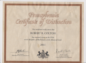 Pennsylvania Certificate of Distinction