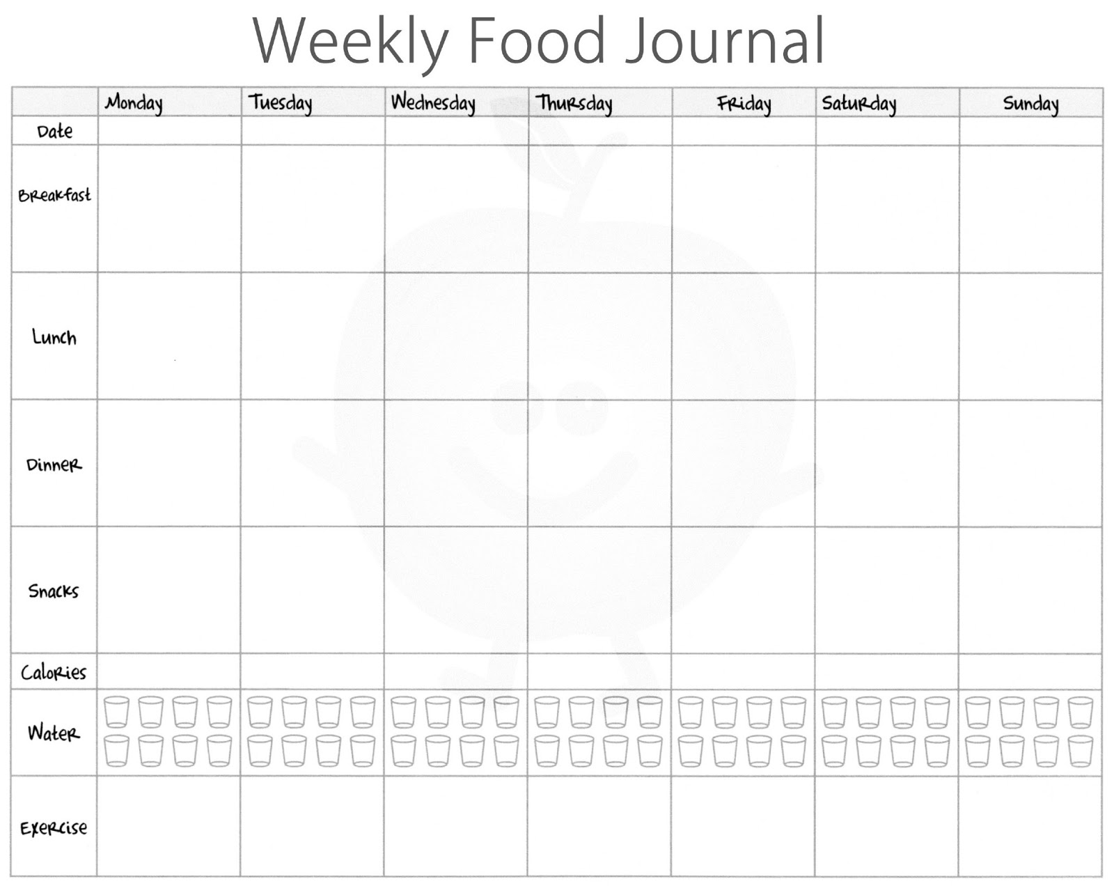 The happiness project food journals the battle of for Keeping a food diary template