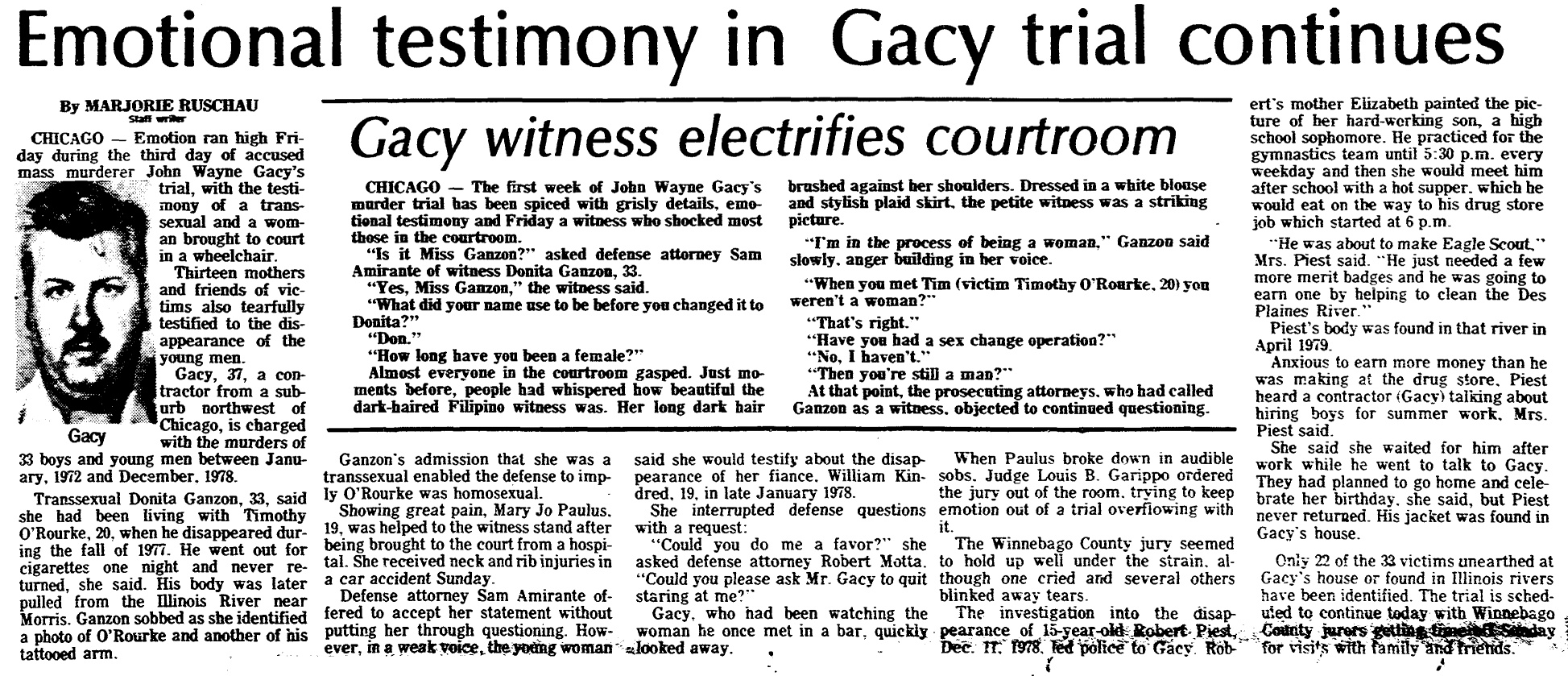 a psychological diagnosis of john wayne gacy John wayne gacy, jr was born on march 17, 1942 in chicago illinois he was named after the heroic movie star john wayne he had two sisters and his childhood was fairly unecceptional.