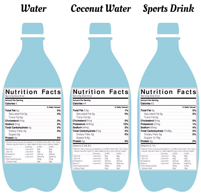 Water S Part 3 Coconut Water Vs Sports Drink Vs Water