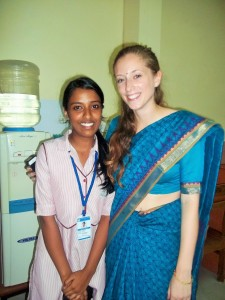 SSAC alum Rachel Passmore is pictured posing with a school student in India.