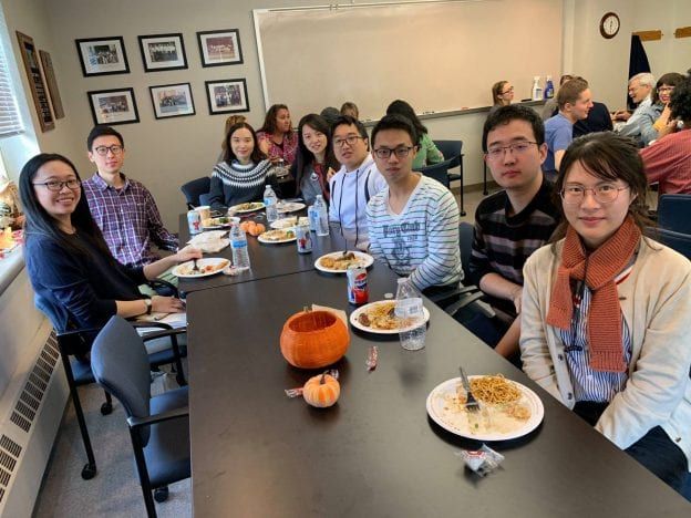 Graduate students at the 2018 Halloween party