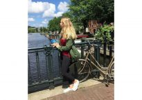 Alexis overlooking Amsterdam canal