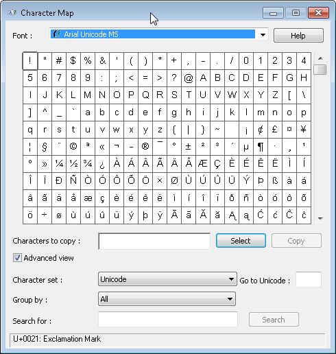 Windows 7 Character Map - Tools are same as in 7