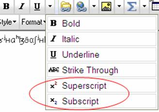 Superscript and Subscript menu options