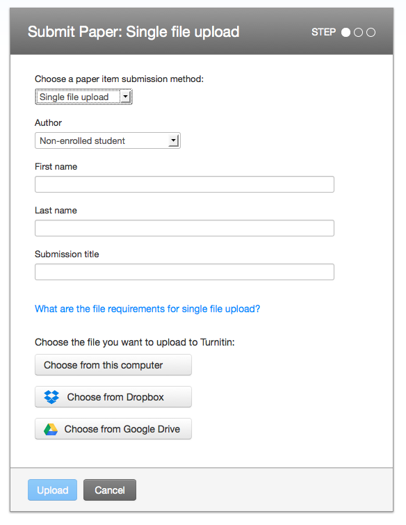 File upload screen with upload options at bottom beneath Submittion title field. The first option is Choose from this computer, then Drop Box then Google Drive