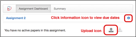 Turnitin screen with information and upload icons.