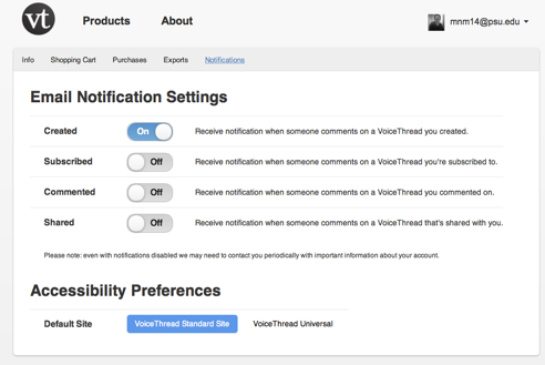 voicethread you can now receive email notifications of