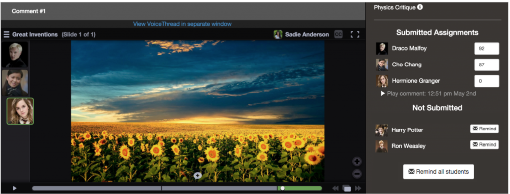 """Screenshot of a VoiceThread interface showing integration with the ANGEL course management system - three images of students on the left column, a photo of a field of sunflowers in the middle column, and """"submitted assignments"""" and """"not submitted"""" with images of the respective students and their names in the right column."""
