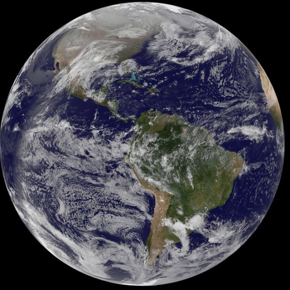Western Hemisphere on New Year's Day from NASA GOES