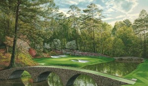 17th hole at Augusta National Golf Course. http://www.golfcourseartwork.com/12th-hole-augusta-national-golf-print-golden-bell-bridges-print