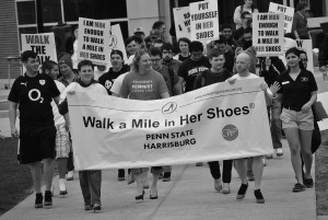 """Walk A Mile in Her Shoes"" event on campus, 2014"