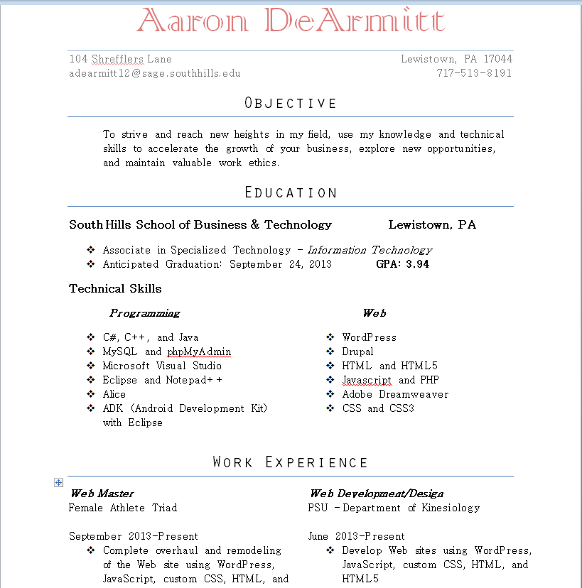 Resume Cover Letter And References Web Developer