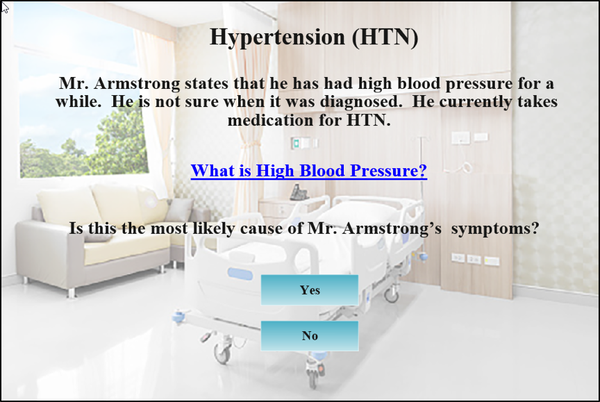 Quiz question about hypertension. Read description below image.