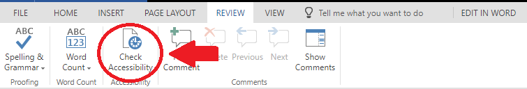Visual steps showing how to find the Accessibility Checker in the online version of Office 365