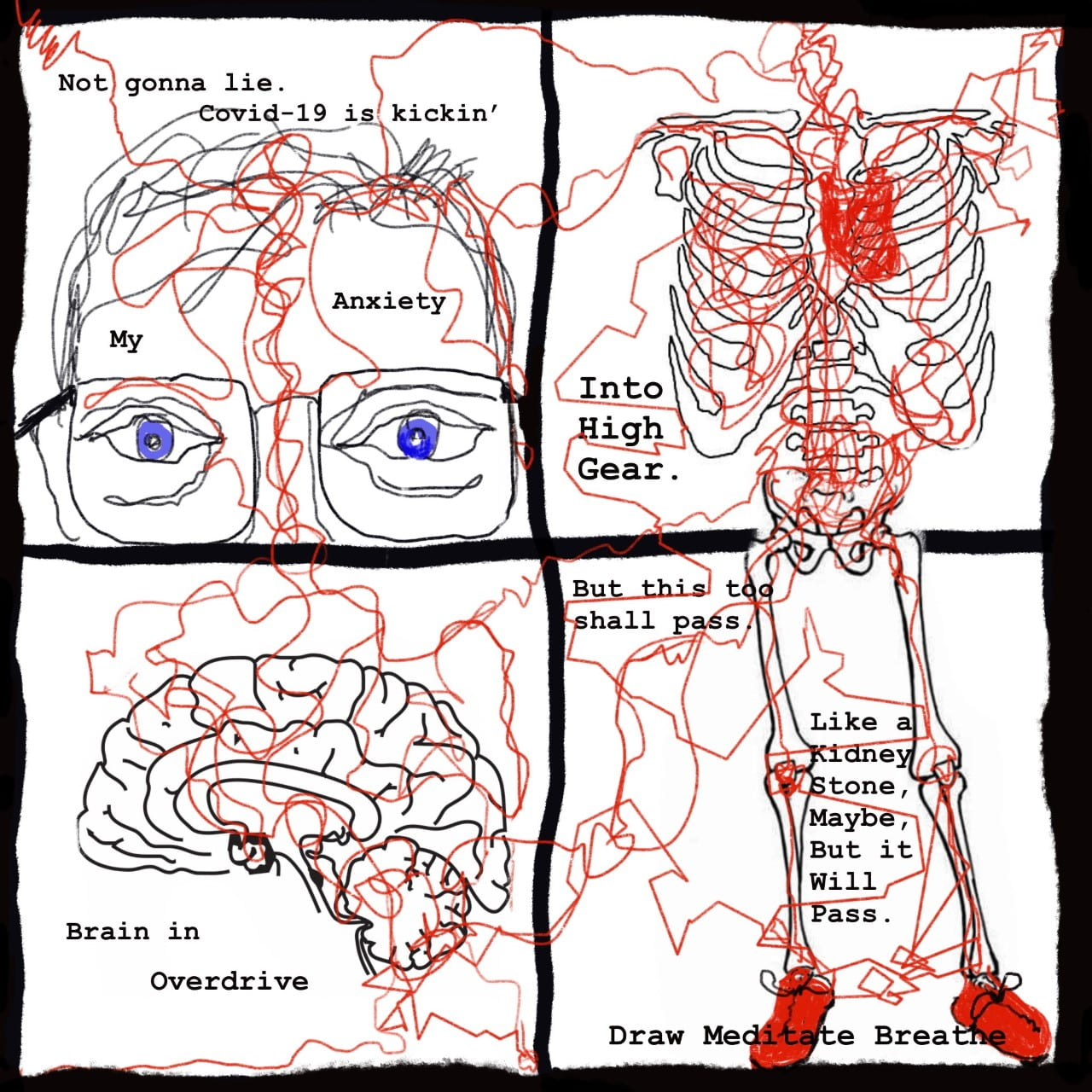 four-panel illustration of man's face, brain, skeleton with red squiggly lines