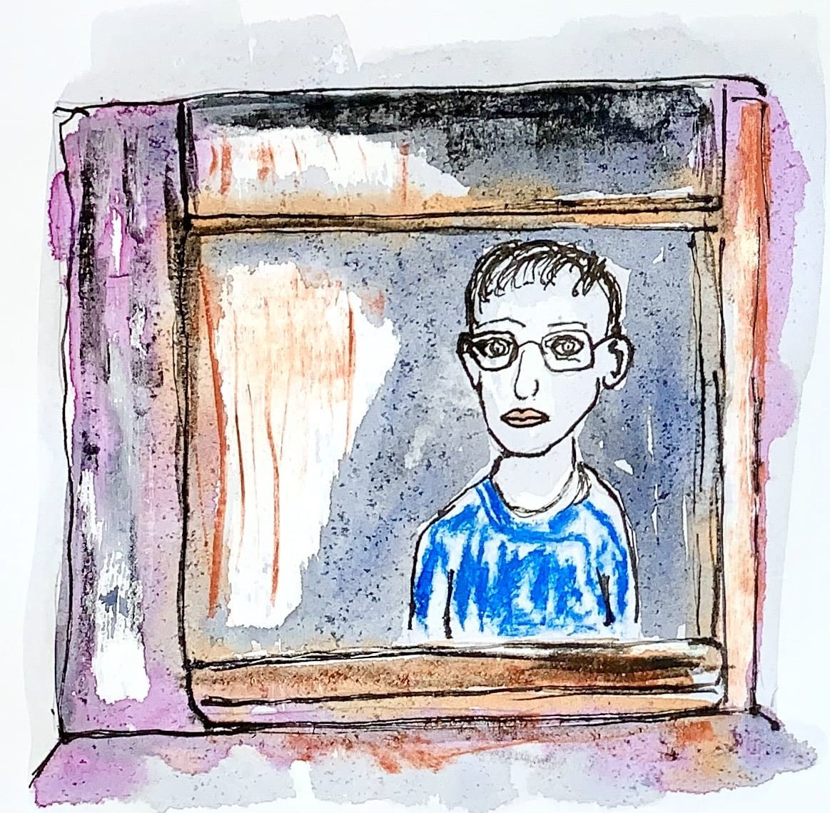 Boy looking out of window