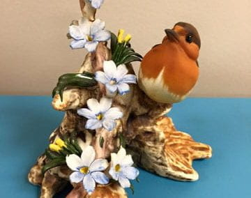 Bird with Blue Flowers Made in Italy