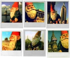 These are various pictures of Amélie's dad's garden gnome traveling across the world.