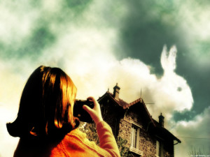 Here shows the magical realism present throughout Amélie displaying younger Amélie taking a picture of a cloud in the perfect shape of a bunny.