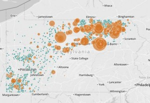 Map of natural gas drilling wells. The orange dots are wells that have violated environmental standards, and the extent of their damage.