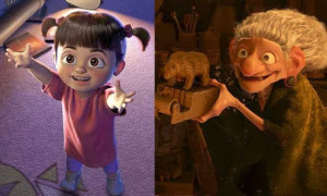A side by side comparison of Boo and the witch from Brave.