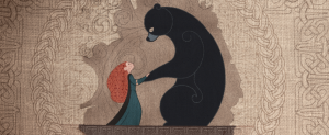 An image of a tapestry showing the bond between Merida and her mother as a bear.
