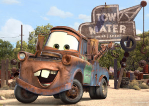 Tow Mater in front of the deserted Earth.