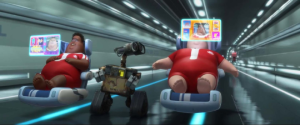 Wall-E trying to interact with humans who are bombarded with pleasure.
