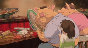 The famous scene in which Chihiro's parents are turned into pigs.