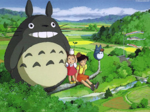 From left to right: Totoro, Mei, Satsuki, and Totoro's helpers.