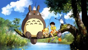 Totoro (left) with Mei (middle) and Satsuki (right).