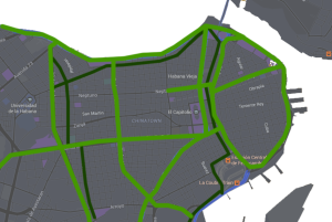 Light green pathways represent boulevards zoned for pedestrian priority. Dark green pathways represent supporting, industrial-priority arteries.