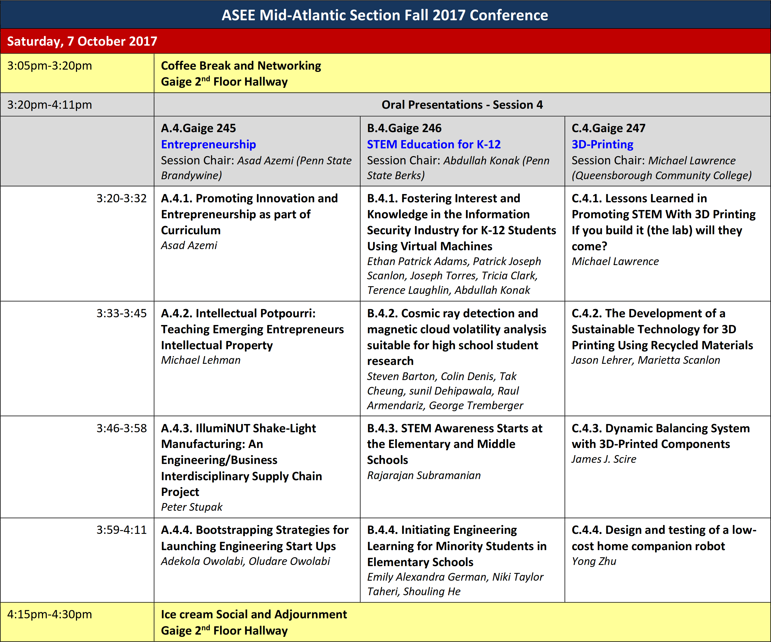 Presentation times locations asee mid atlantic fall 2017 session 4 baditri Images
