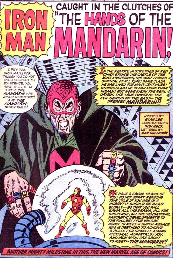 The first page of Tales of Suspense #50, Mandarin's first appearance. Published in 1964.