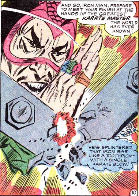 The Mandarin displays his superhuman martial arts prowess in Tales of Suspense #50.