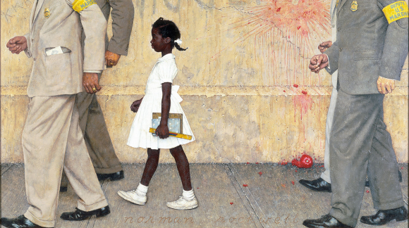 Norman Rockwell's (1964) depiction of Ruby Bridges being escorted to school by U.S. marshals (as retrieved from This American Life, 2015). Bridges herself visited the White House to see the painting hanging outside the Oval Office and posed with President Obama (Brown, 2011)