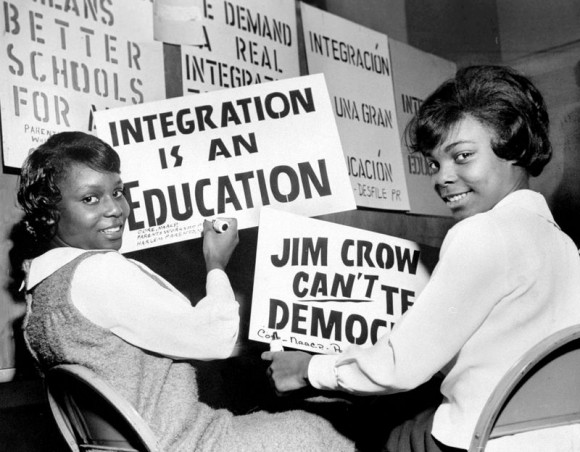 Women making signs ahead of a 1964 boycott of New York City schools to encourage the district to desegregate; the boycott became the largest civil rights protest in American history (image from Khan, 2016)